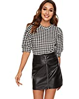 SheIn Women's Gingham Checkered Office Blouse Plaid Work Top Puff Sleeve Shirt Check#1 Medium