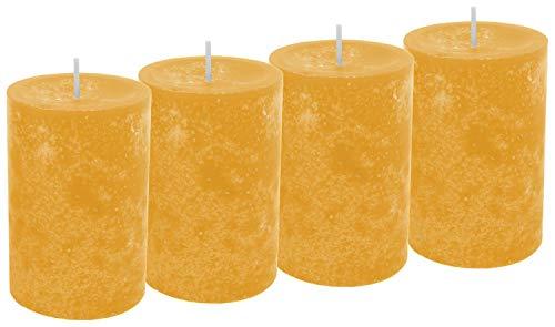 Unbekannt 4 Kerzen Stumpenkerzen Tischdeko Kerzendeko Herbst Deko Adventskerzen Gelb Senf