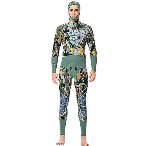 JenLn Traje de Snorkel Hombres de Split con Capucha Caliente de Manga Larga Traje de Apto for el Buceo Invierno Natación Traje de baño de Hombres (Color : Green, Size : 3XL)