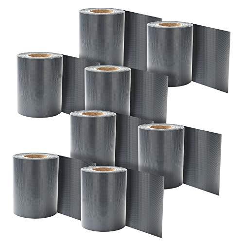 Hengda 8er set PVC Sichtschutzstreifen, Doppelseitiger Druck Sichtschutzfolie Windschutz und Anti-UV Wetterfest, 280m x 19cm Zaunfolie inkl. 240 Befestigungsclips, für Doppelstabmatten Zaun, Anthrazit