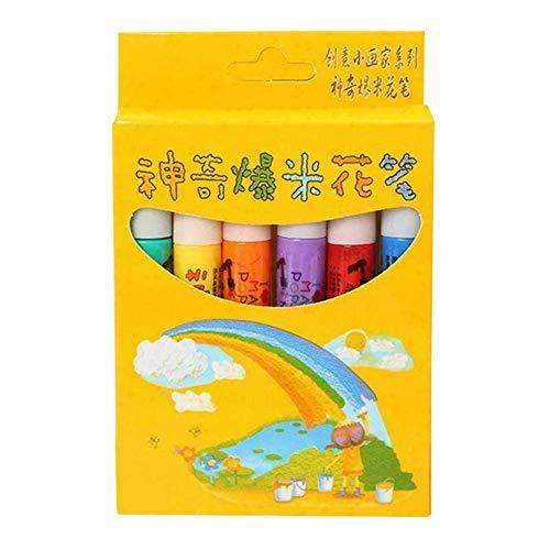 iSunday Magic Popcorn Pen, 6 Stks Kleur DIY Bubble Popcorn 3D Tekening Pens Puffy 3D Art Safe voor Wensdag Verjaardagskaarten Kinderen