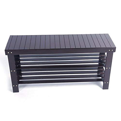 "36"" Solid Wood Shoe Bench Storage Racks Seat Organizer Entryway Hallway Espresso"