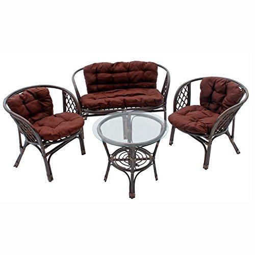FineHome - Conjunto de muebles de jardín de ratán auténtico Bahama, incluye cojines, color marrón, 3 sillones + 1 mesa