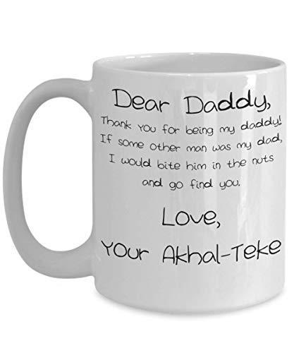 Akhal-Teke Tasse à café en céramique blanche pour la fête des pères – 325 ml