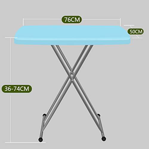 QHGao klaptafel met duurzame stalen poten, 6 verstelbare hoogten, snel opvouwbare draagbare tafel, gemeenschappelijk binnen en buiten, geen ruimte, gezond en milieuvriendelijk (grootte 76 * 50 * 74Cm)