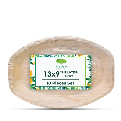 """EcoRev Disposable Palm Leaf Trays - Bamboo Trays For Food - 10 13""""x9"""" Rectangle Disposable Charcuterie Board - Platter Tray For Parties, Events, Weddings"""