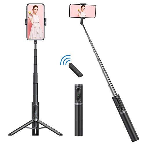 Colorlizard Trípode Bluetooth para selfies, 3 en 1 con mando a distancia inalámbrico, plegable mini trípode extensible de rotación de 270°, compatible con iPhone, teléfonos Android Gopro (gris negro)