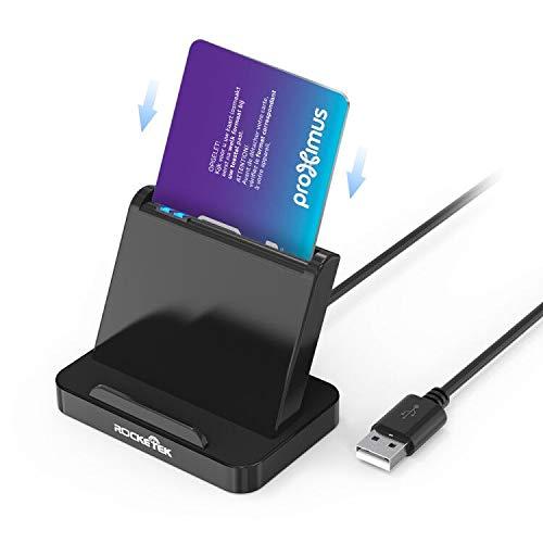 Rocketek Vertikaler Smart Card Reader, Hot-Plug USB Smart Card Reader Adapter, Tragbarer Militär CAC Kartenleser, DOD Militär USB Common Access Kartenleser, Kompatibel mit Windows Mac OS