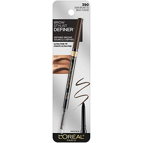L'Oreal Paris Makeup Brow Stylist Definer Waterproof Eyebrow Pencil, Ultra-Fine Mechanical Pencil, Draws Tiny Brow Hairs & Fills in Sparse Areas & Gaps, Dark Brunette, 0 003 Ounce (Pack of 1)