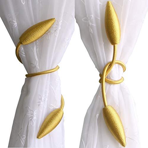 Valea Home 2-Pack Creative Curtain Tiebacks Random Modelling Curtain Holdbacks Eelicate Simple Type, Gold