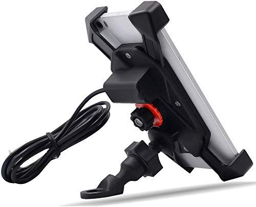 TR Turn Raise Giratorio Montaje de Motocicleta Moto Soporte para Teléfono Celular con Impermeable 2.1A Puerto de Carga USB