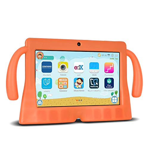 Xgody Kinder-Tablets, 17,8 cm (7 Zoll) HD-Tablets für Kinder, elterliche Kontrolle, für Internet Cloud Klasse, Android 8.1 GMS, 16 GB, Quad Core, orange, kindersichere Hülle