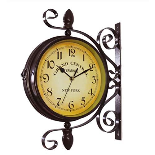 HHYZ Retro Doppelseitige Wanduhr, Outdoor Uhren für den Garten, Wetterfest, Leise und Kein Ticken Geeignet für Garten, Terrasse, Innenbereich, Bar (Braun)