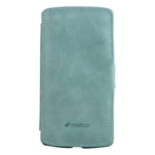 Melkco Booka Type Premium Lederen Hoesje voor Google Nexus 5 - Vintage Lake Blauw