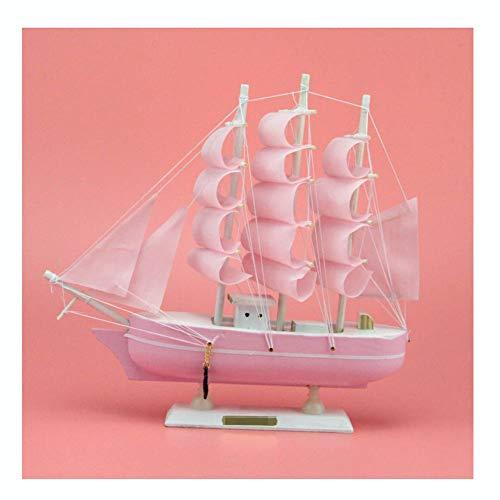 Guve Barca a Vela in Legno Barca a Vela in Legno Home Decor Decorazione del Giocattolo Mediterraneo Modello di assieme Kit Home Decor Craft,Pink,(L*W*H) 24 * 24 * 6cm