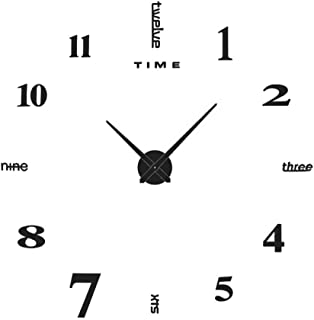 Yolistar DIY Reloj de Pared 3D, Etiqueta de La Pared del Reloj Mudo Moderno, Tamaño Grande, Fácil de Montar, para el Hogar, Oficina, Decoración de Pared del Hotel (Negro)
