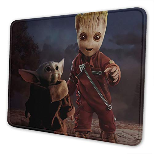 Baby Yo-da Groot Gaming Mouse Pad with Stitched Edge Non-Slip Rubber Base Large Mouse Pads for Laptops Computers and PC 12 x 10 x 0.12 Inches