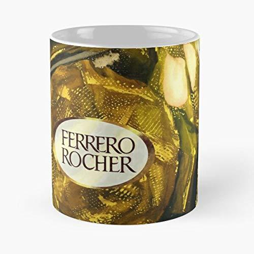 Argentwork Junk Food Hazelnut Chocolate Rocher Ferrero Candy Gold Foil Best 11 oz Kaffeebecher - Nespresso Tassen Kaffee Motive