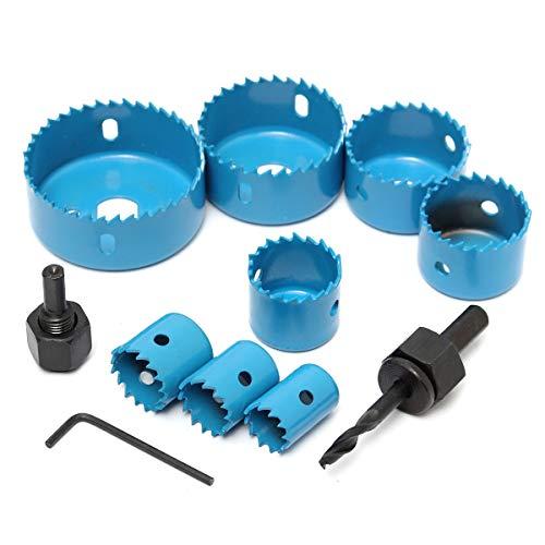 MYAMIA 8Pcs Blue Hole Saw Cutter Set con Llave Hexagonal Wood Alloy Iron Cutter para Trabajar La Madera