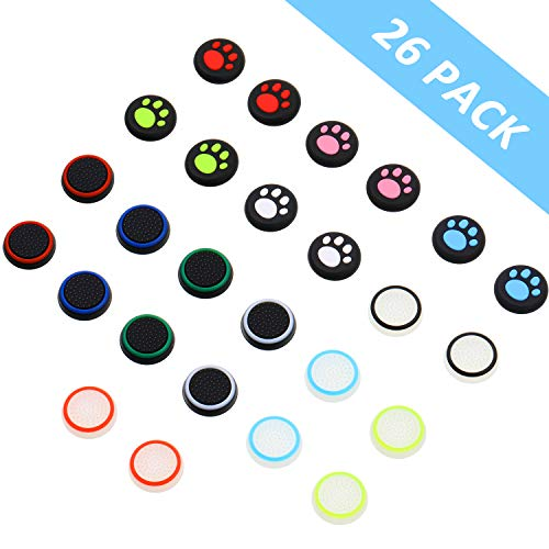 26 Pieces Replacement Thumb Grips Caps Cover Silicone Luminous Analog Controller Joystick Thumb Stick Cap , Compatible with PS4 PS3 PS2 Xbox 360 Xbox One Controllers