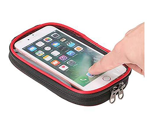 LJWLZFVT Bike Frame Bag Gifts for Him Bicycle bag Waterproof Phone Holder Bike Bags for Frame Top Tube Bicycle Pouch Bag with Touchscreen rain cover suitable Bike bag-Pu red and black 19.5x10x15cm