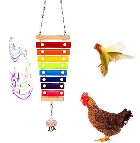 Abe Find Juguete de madera xilófono de pollo, juguete musical de gallina suspensión con 8 llaves de metal y 1 piedra de molienda, juguete para gallinas de pollo y pájaros