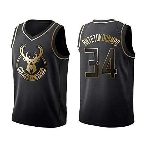 Basketball Trikot Milwaukee Bucks, 34# Giannis Antetokounmpo Trikots Schwarz und Gold Trikot Atmungsaktives ärmelloses Basketball T-Shirt-M
