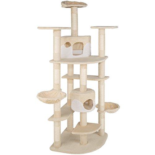 TecTake Katzen Kratzbaum mit XXL Liegemulde | 2 Katzenhäusern | deckenhoch - Diverse Farben - (beige-Weiss | Nr. 402108)