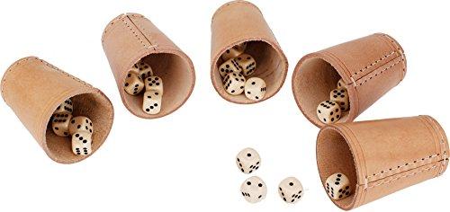 GICO Leder Würfelbecher Standard (9 cm) mit 6 Würfeln im 5er Set - 5902-5