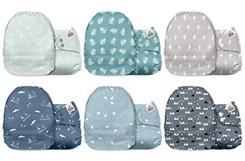 Mama Koala One Size Baby Washable Reusable Pocket Cloth Diapers, 6 Pack with 6 One Size Microfiber Inserts (Serenity)