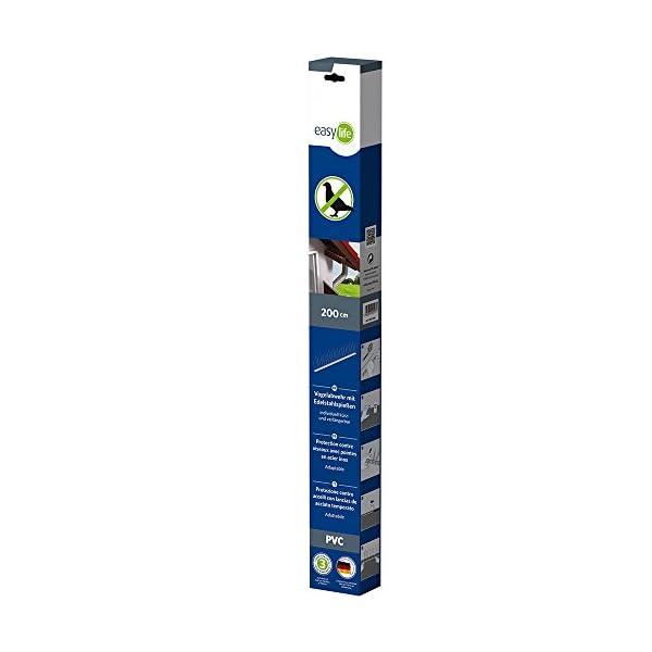 EASY LIFE Pinchos antipalomas de PVC 200 cm-60 Picos de Acero Inoable-Púas repeltes para pájros, White, Normal