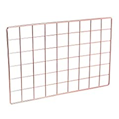 Wall-hanging wire grid panel for home decor or as a handy organizer Ideal for displaying photos, postcards, ornaments, and keepsakes or storing hats, sunglasses, scarves, and more Made of sturdy corrosion-resistant metal with a smooth, shiny surface ...