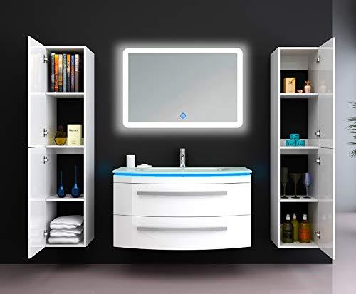"""Oimex Badmöbel Set """"Monica"""" Weiß Hochglanz Waschtisch 90cm inkl. LED Beleuchtung, Glaswaschbecken, Armatur, LED-Spiegel, Größe: Waschtisch + LED Spiegel + 2x Seitenschrank"""