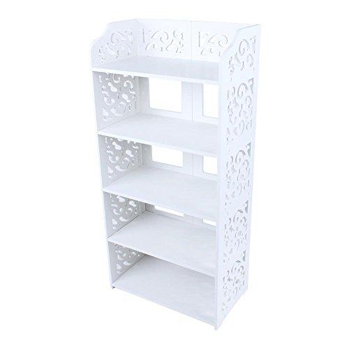 Scarpiera a 5 ripiani, in legno, plastica, stile moderno, salvaspazio, per scarpiera, scarpiera, organizer da armadio, per casa, ufficio, supporto per 10 paia di scarpe, colore: bianco