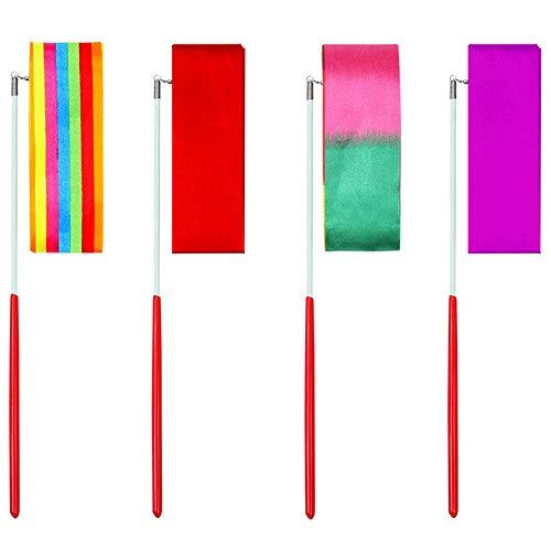 WENTS Tanzband - Miotlsy Gymnastikband Bänder Tanz Rhythmische Schwungband mit Stab Gymnastikbänder für Kinder Kunst Tanz DIY Machen 4 Farben 2M
