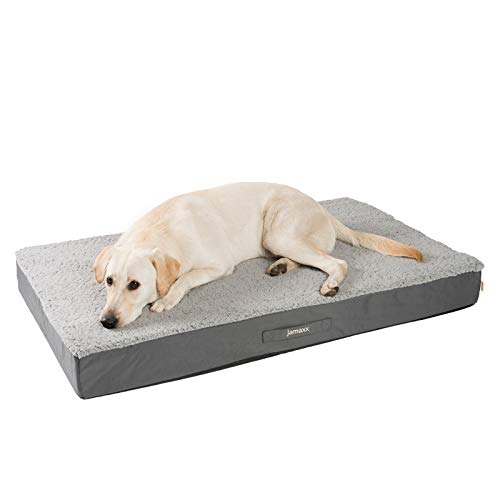 JAMAXX Orthopädische Hunde-Matratze Gelenkschonend Memory Visco Schaum Waschbar Abnehmbarer Lammfell Bezug/Wasserabweisendes Oxford Gewebe - Robustes Kuschliges Hundebett PDB1012, 120x73 (L), Grey