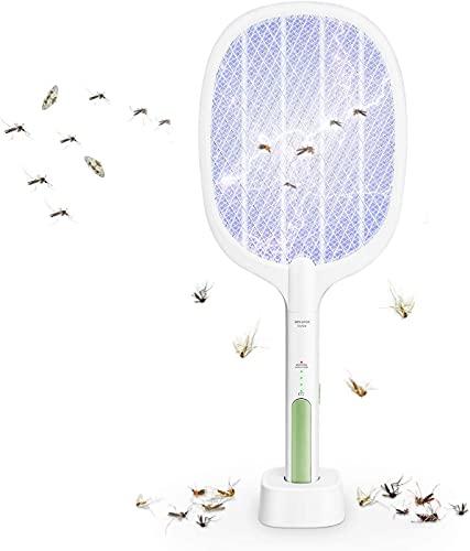WOLAFOO Elektrische Fliegenklatsche, 2 in 1 Fliegenfänger Elektrisch 3000V Insektenvernichter USB Wiederaufladbar Moskito Zapper,1200mA Wiederaufladbarer Akku, Ideal für...