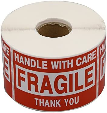 PacificMailer 1 Roll 2 x3 Fragile Stickers Handle with Care Warning Packing Shipping Label with product image