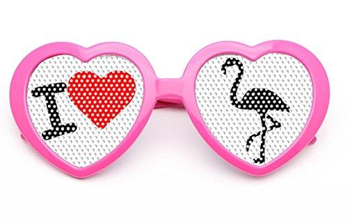 seven9 Pinke Flamingobrille mit I Love Flamingo und Herzform für Jede Party, den Ballermann und jedes Festival
