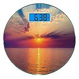 Escala digital de peso corporal de precisión Ronda Oceano Báscula de baño de vidrio templado ultra delgado Mediciones de peso precisas,Majestuoso amanecer en el mar tranquilo Horizon Dawn Rays Nubes R