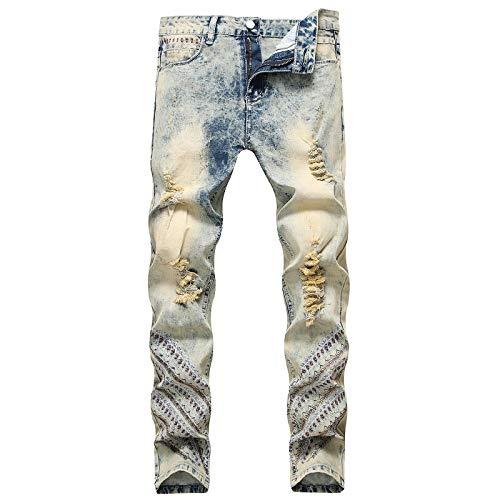 Beastle Jeans para Hombres Americana Moda Bordada Personalidad Rasgada Jeans elásticos Rectos 30