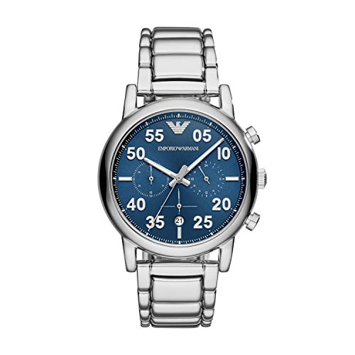 Emporio Armani Men's Chronograph Quartz Watch with Stainless-Steel Strap, Silver, 22 (Model:...
