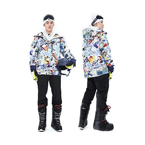 Zlw-shop Schneeanzüge Skianzug Winterbekleidung Herren Ski Lätzchen Anzugjacke Wasserdicht Snowboard-buntes gedrucktes Ski-Jacke und Hose Set Skianzug (Color : B, Größe : L)