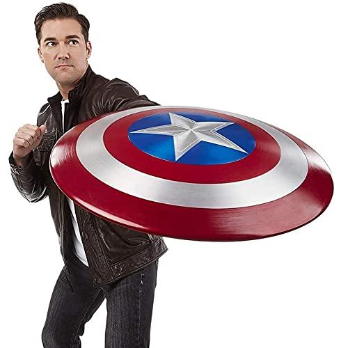 PRETAY Marvel Escudo Capitan America 60Cm Edición 75 Aniversario,Los Vengadores Marvel Capitán América Disfraz de Metal Shield 1: 1 Apoyos de Película Bar Escudo Decoraciones para Colgar