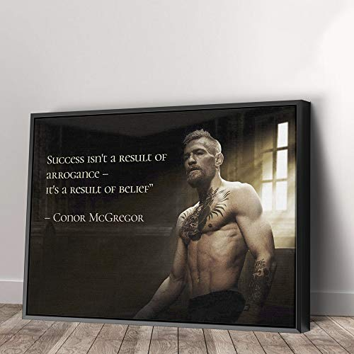 Conor McGregor Quote Canvas Art Wall Art Home Decor (60in x 40in Modern Black Framed)