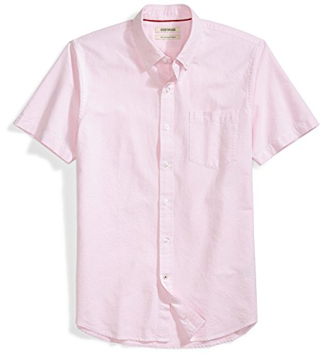 Amazon Brand - Goodthreads Men's Slim-Fit Short-Sleeve Solid Oxford Shirt with Pocket, Pink, Medium