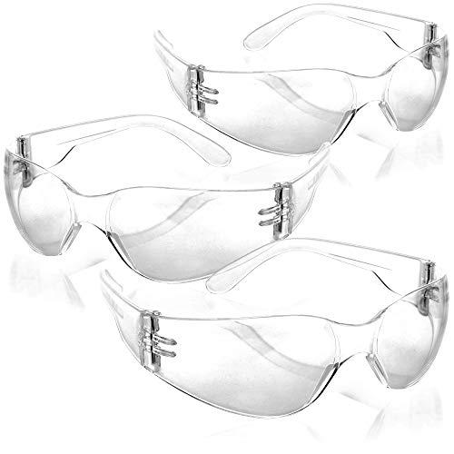 com-four® 3X Schutzbrille nach EN166 - Arbeitsschutzbrille mit Frontschutz - Augenschutz für Handwerker - Fahrrad-Brille (transparent - 3 Stück)