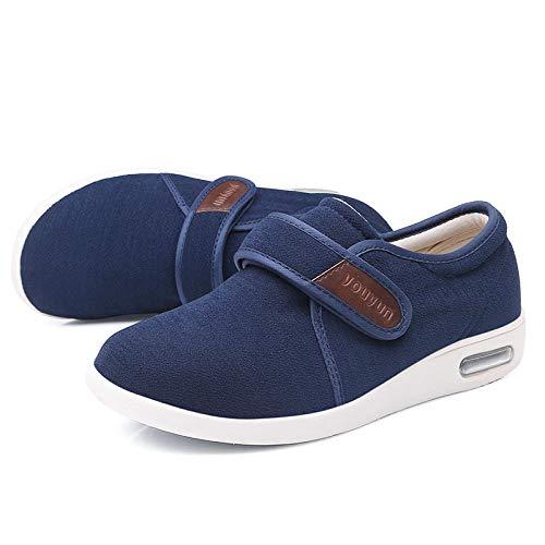 B/H Extra Breite Diabetiker-Schuhe Herren,Klett-Stoffschuhe, geschwollene Fußschuhe für ältere Menschen-48_Blue,Herren Klett-Halbschuh