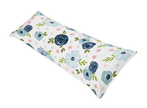 Sweet Jojo Designs Navy Blue and Pink Watercolor Floral Body Pillow Case Cover (Pillow Not Included) - Blush, Green and White Shabby Chic Rose Flower Polka Dot