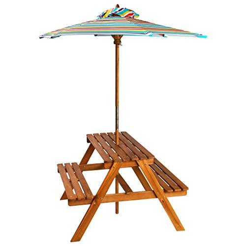 vidaXL Akazie Massivholz Kinder Picknicktisch mit Sonnenschirm Tisch Bänke Sitzgruppe Kindersitzgruppe Kindersitzgarnitur Kindermöbel Gartenmöbel 79x90x60 cm